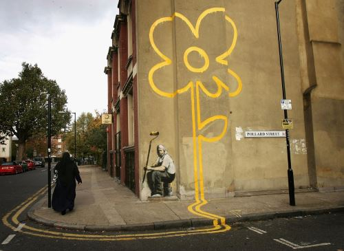 "La obra ""Yellow Lines"" de Bansky / Foto: The Independent"